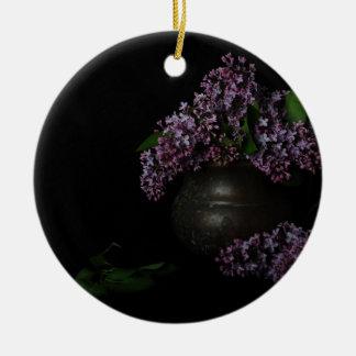 Lilacs and Patina Round Ceramic Decoration