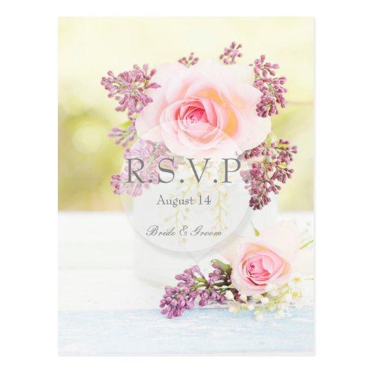 Lilacs and Roses Vintage Wedding editable RSVP Postcard