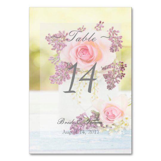 Lilacs and Roses Vintage Wedding Table Number