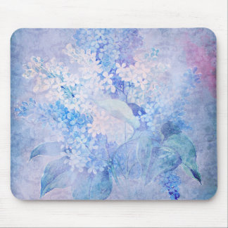 Lilacs Pink Lavender Blue Cream Floral tray Mouse Pad