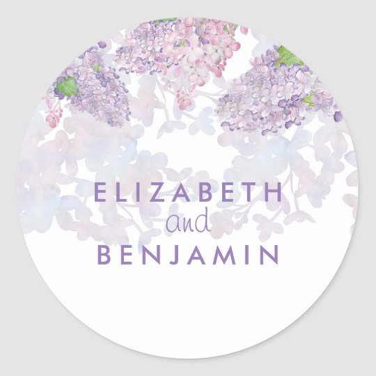 Lilacs Watercolor Floral Elegant Wedding Classic Round Sticker