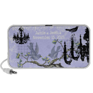 Liliac Vintage Love Birds Black Chandeliers Portable Speakers
