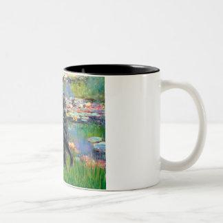 Lilies 2 - Flat Coated Retriever Two-Tone Coffee Mug
