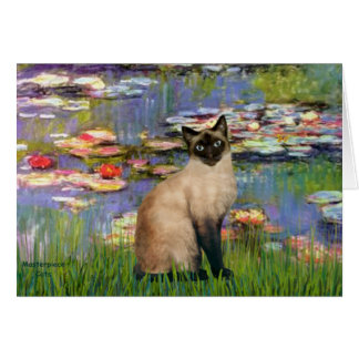 Lilies 2 - Seal Point Siamese cat Card