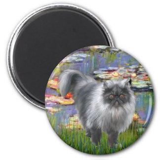 Lilies 2 - Silver Persian cat Fridge Magnet