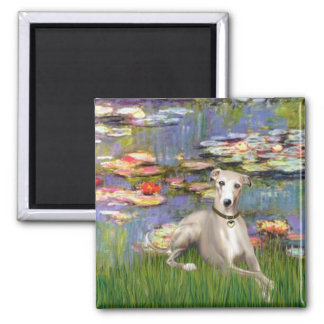 Lilies 2 - Whippet #2 Square Magnet