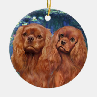 Lilies 5- Two Ruby Cavaliers Christmas Ornament