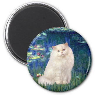 Lilies 5 - White Persian cat 6 Cm Round Magnet