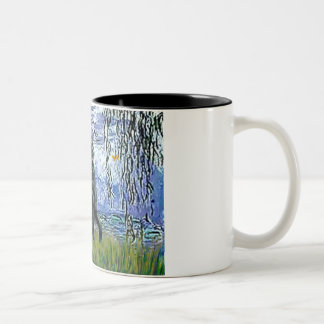 Lilies 6 - Flat Coated Retriever 2 Two-Tone Coffee Mug