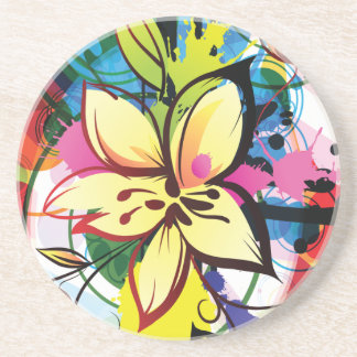 Lilies Among Colorful Splash Drink Coasters