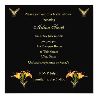 Lilies and Butterflies bridal shower invitation