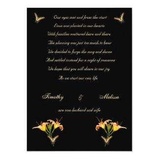Lilies and Butterflies elopement announcement