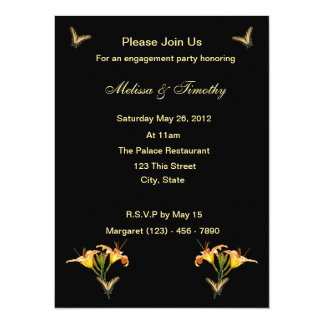 Lilies and Butterflies Personalized Invitation