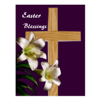 Lilies and Cross Easter Post Card