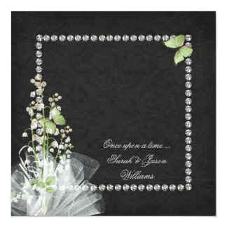 Lilies and Diamonds Vow Renewal 13 Cm X 13 Cm Square Invitation Card