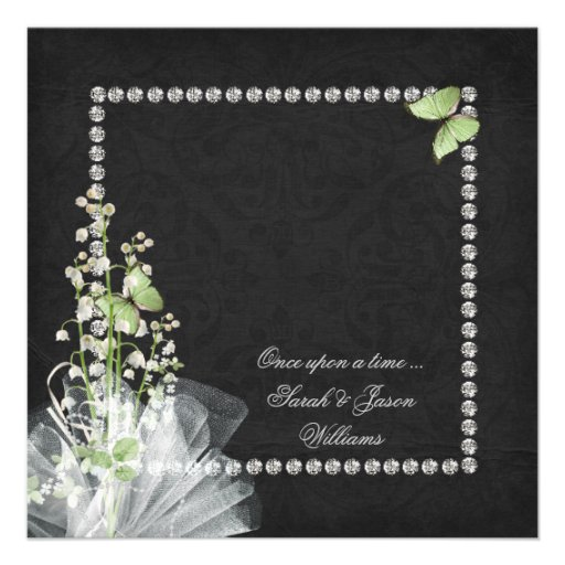 Lilies and Diamonds Vow Renewal Personalized Invitations