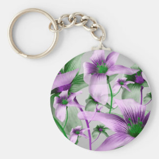 Lilies Collage Art in Green and Violet Colors Basic Round Button Keychain
