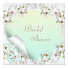 Lilies, Doves & Wedding Bands Mint Bridal Shower Card