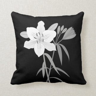 Lilies Illustration in Monochrome Cushion