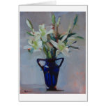 'Lilies in Blue' - white lilies in a blue vase Card