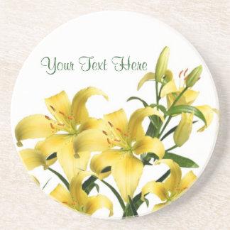 Lilies, Lilies! Splendid Yellow-Gold Lilies Design Drink Coaster