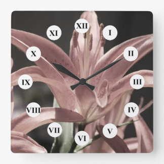 Lilies-Muted Tones by Shirley Taylor Square Wall Clock
