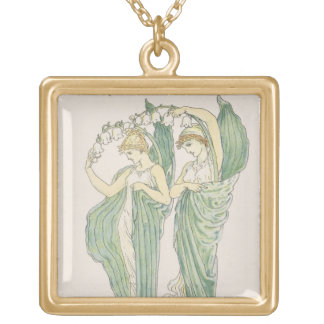 Lilies of the Vale, from Flora's Feast, 1901 (colo Gold Plated Necklace