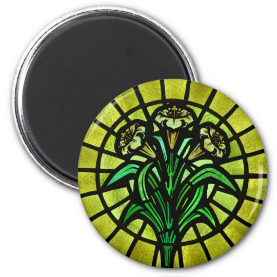 Lilies on Stained Glass 6 Cm Round Magnet