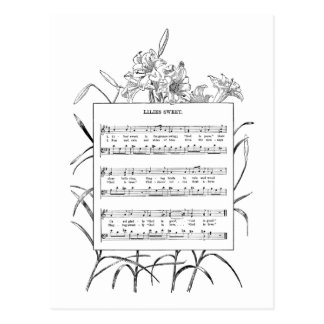 Lilies Religious Song and Music Postcard