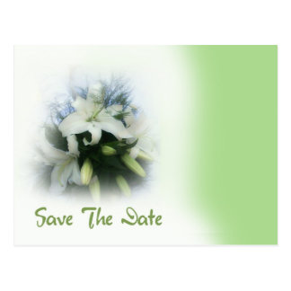 Lilies Save The Date Card  ( Green and White) Postcard