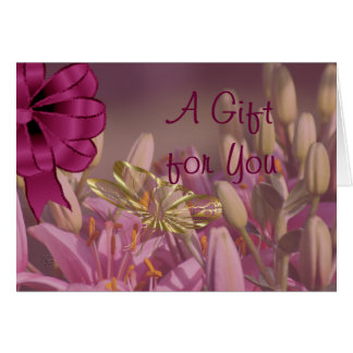 Lilies with Golden Butterfly Gift Card  -customize