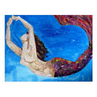 Lilith - mermaid collage art postcard