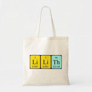 Lilith periodic table name tote bag