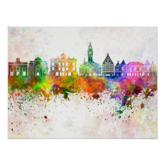 Lille skyline in watercolor background poster