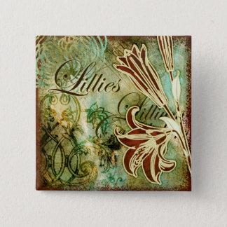 Lillies 15 Cm Square Badge