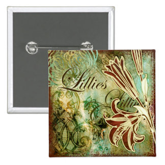 Lillies 15 Cm Square Badge
