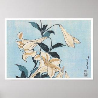 Lillies, Hokusai, 1832 Poster