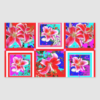 Lillies Holiday Gifts in Purple by Sharles Rectangle Stickers