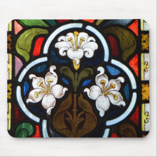 Lillies Stained Glass StColumb Minor Cornwall Mouse Mat