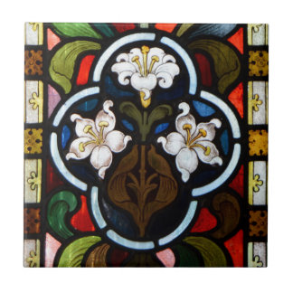 Lillies Stained Glass StColumb Minor Cornwall Tile