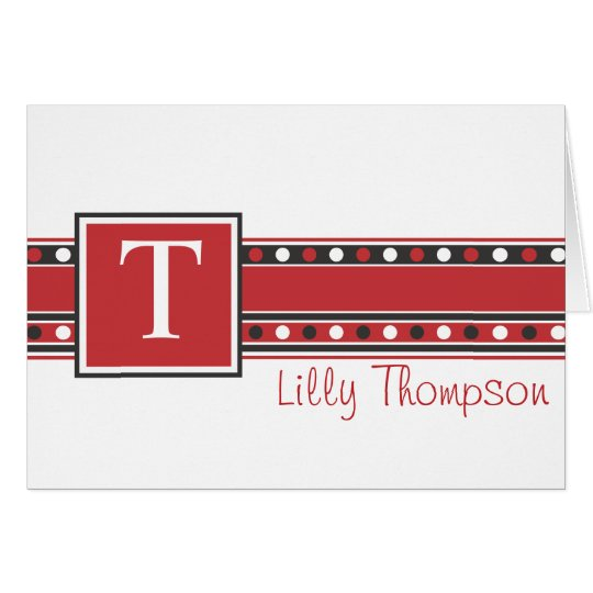Lilly Note Card - Red and Black