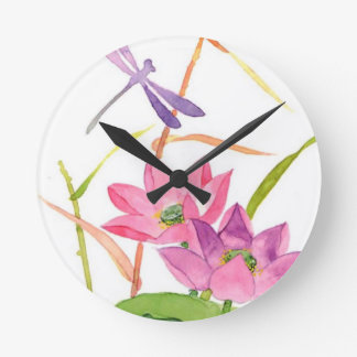 lilly pad watercolor clock