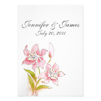 Lilly Wedding Invitations Front View
