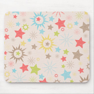 LilMonster FUN STARS SUNS LIME GREEN REDS CREAM NE Mouse Pad