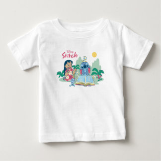 Lilo & Stitch   Reading the Ugly Duckling Baby T-Shirt
