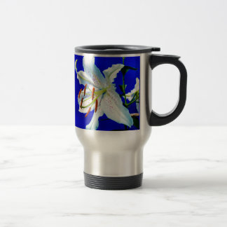 lily-227836  lily flower royal blue background nat stainless steel travel mug
