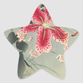 Lily and Butterflies by Ohara Koson Stickers