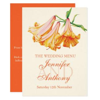 Lily bell fine art wedding dinner menu 14 cm x 19 cm invitation card