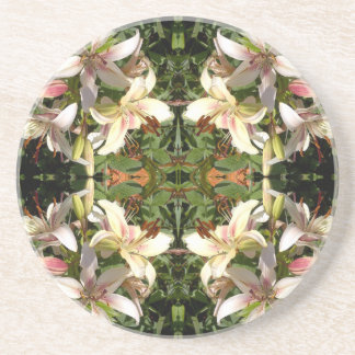 Lily Cluster  Mirrored Square Drink Coaster