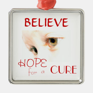 lily eyes, BELIEVE, HOPE, CURE, for , a Silver-Colored Square Decoration
